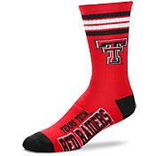 For Bare Feet Texas Tech Red Raiders 4-Stripe Deuce Crew Socks
