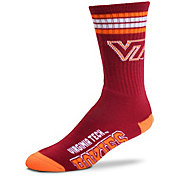 For Bare Feet Virginia Tech Hokies 4-Stripe Deuce Crew Socks