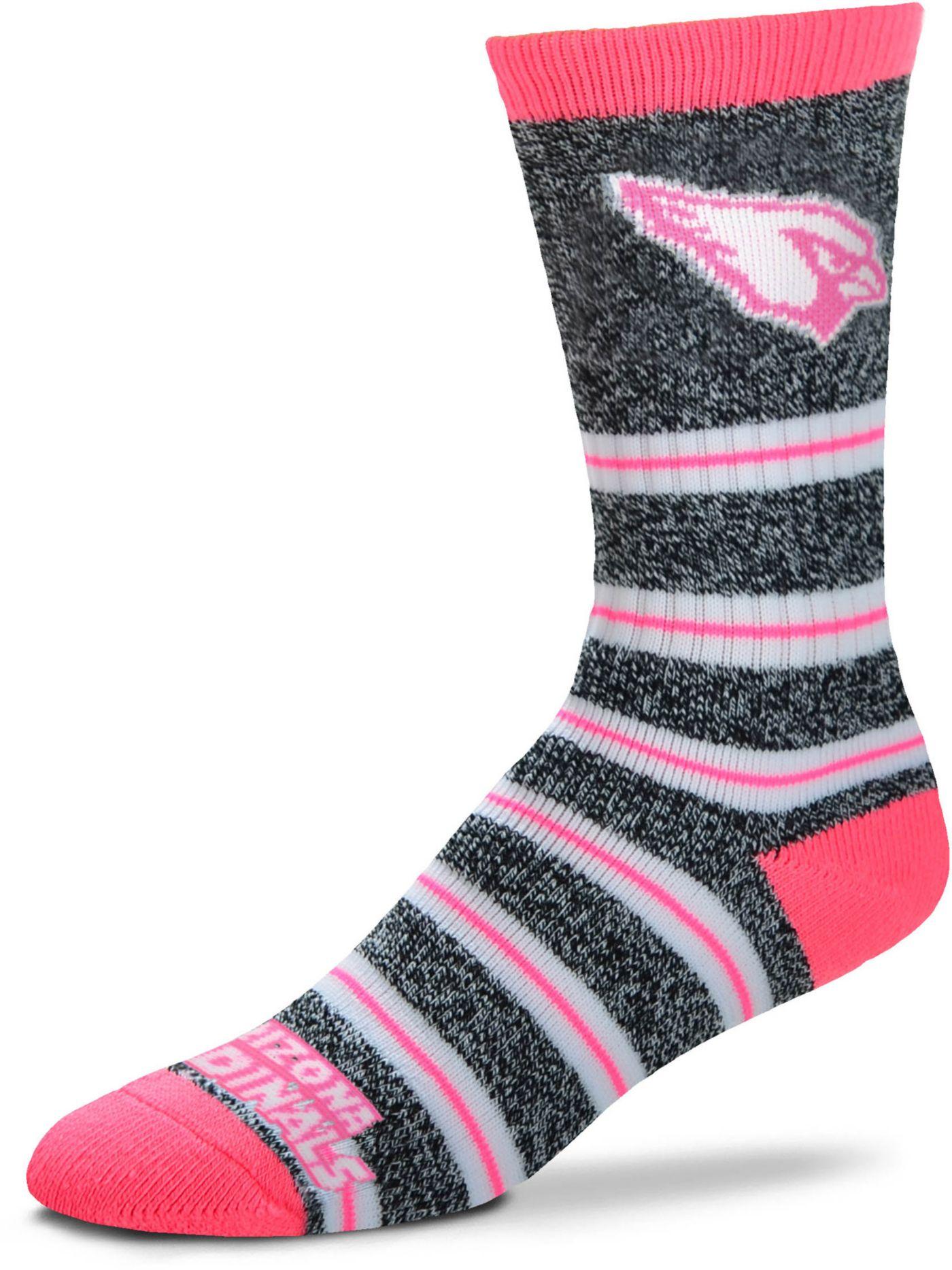 For Bare Feet Arizona Cardinals Grey Melange Crew Socks
