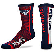 For Bare Feet New England Patriots Bar Stripe Crew Socks