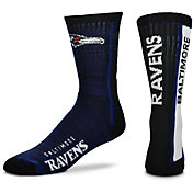 For Bare Feet Baltimore Ravens Bar Stripe Crew Socks