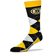 For Bare Feet Boston Bruins Argyle Line Up Socks