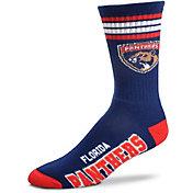 For Bare Feet Florida Panthers 4-Stripe Deuce Crew Socks