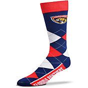 For Bare Feet Florida Panthers Argyle Line Up Socks