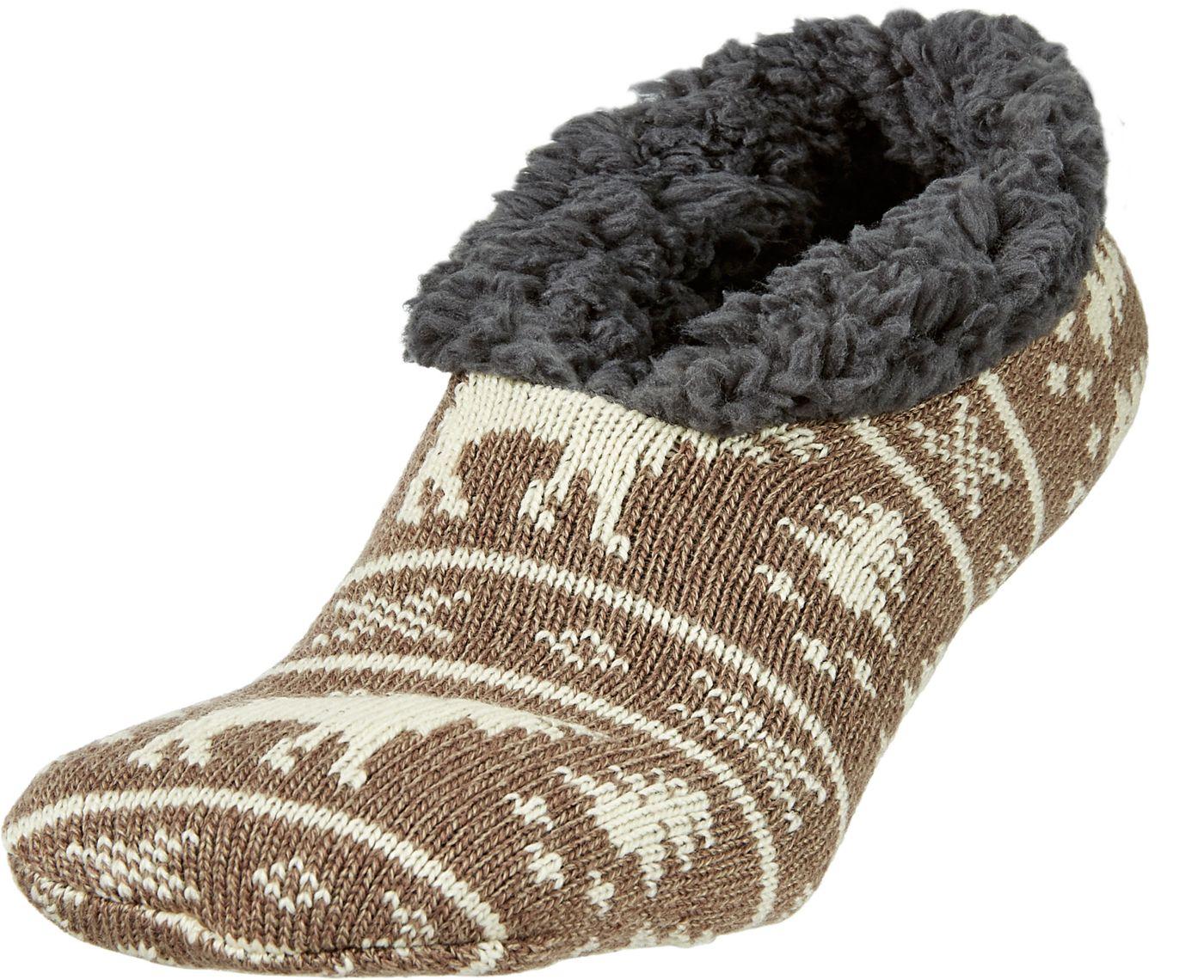 Field & Stream Men's Cabin Moose Stripe Slipper Socks
