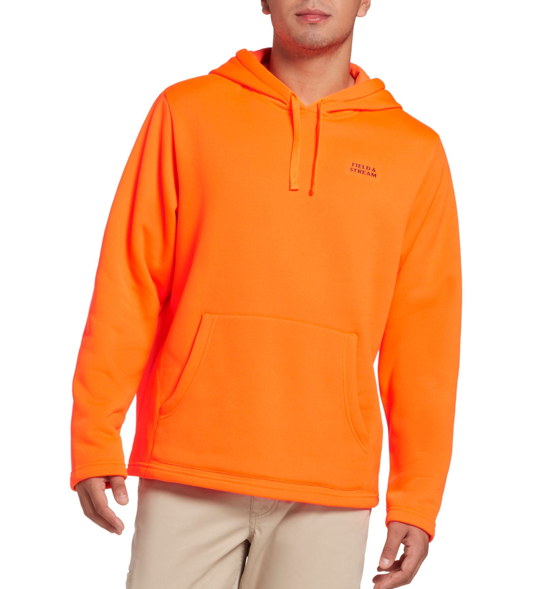 Field & Stream Men's Performance Fleece Camo Hoodie (Regular and Big & Tall), Small, Blaze Orange