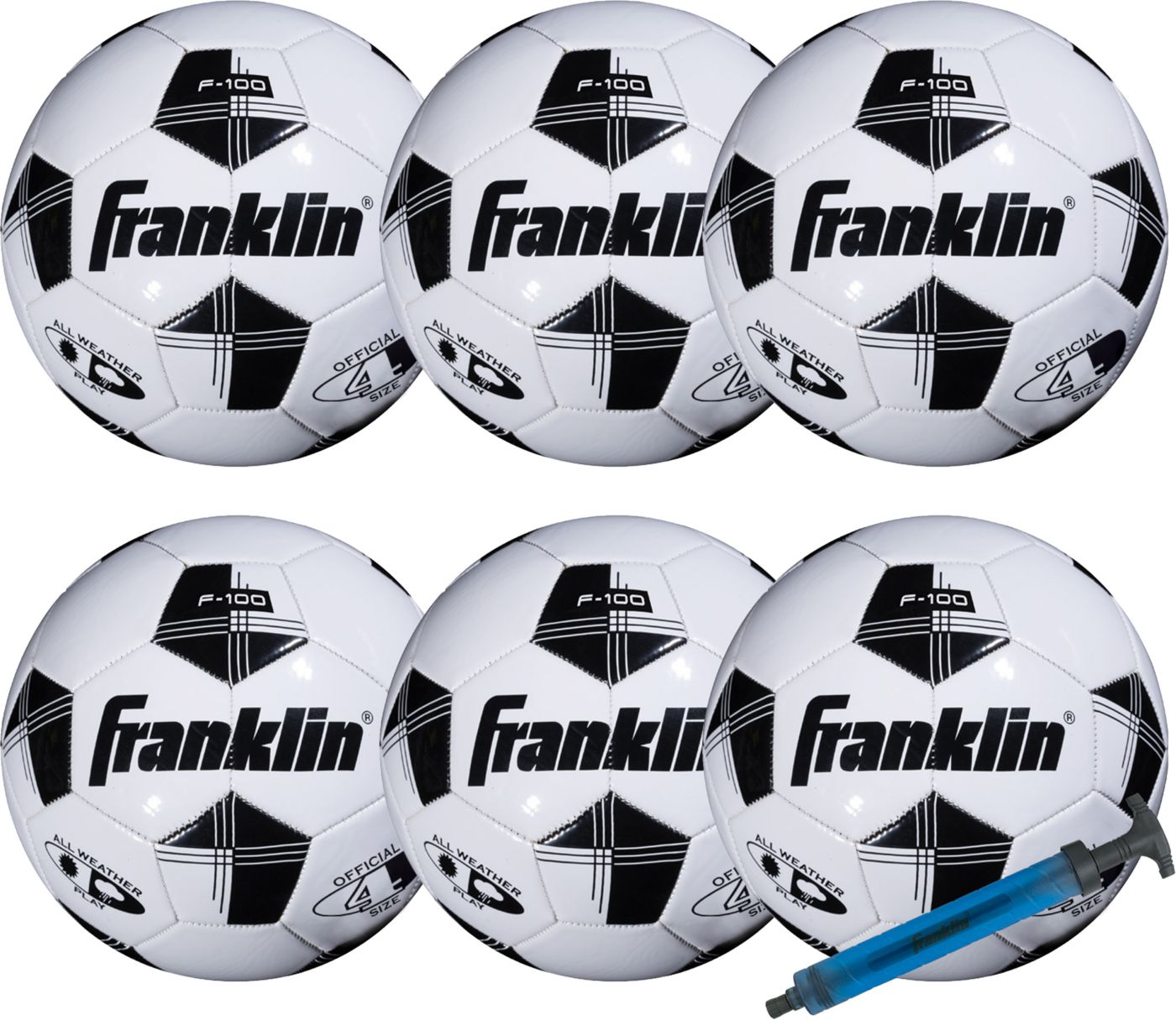 Franklin Competition 100 Soccer Ball with Pump Set - 6 Pack
