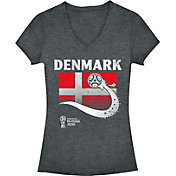 Fifth Sun Women's 2018 FIFA World Cup Denmark Flag Ball Grey V-Neck T-Shirt
