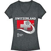 Fifth Sun Women's 2018 FIFA World Cup Switzerland Flag Ball Grey V-Neck T-Shirt