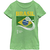 Fifth Sun Youth Girls' 2018 FIFA World Cup Brazil Flag Ball Green T-Shirt