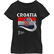 Fifth Sun Youth Girls' 2018 FIFA World Cup Croatia Flag Ball Black T-Shirt