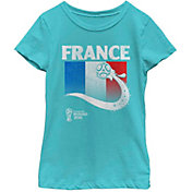 Fifth Sun Youth Girls' 2018 FIFA World Cup France Flag Ball Teal T-Shirt