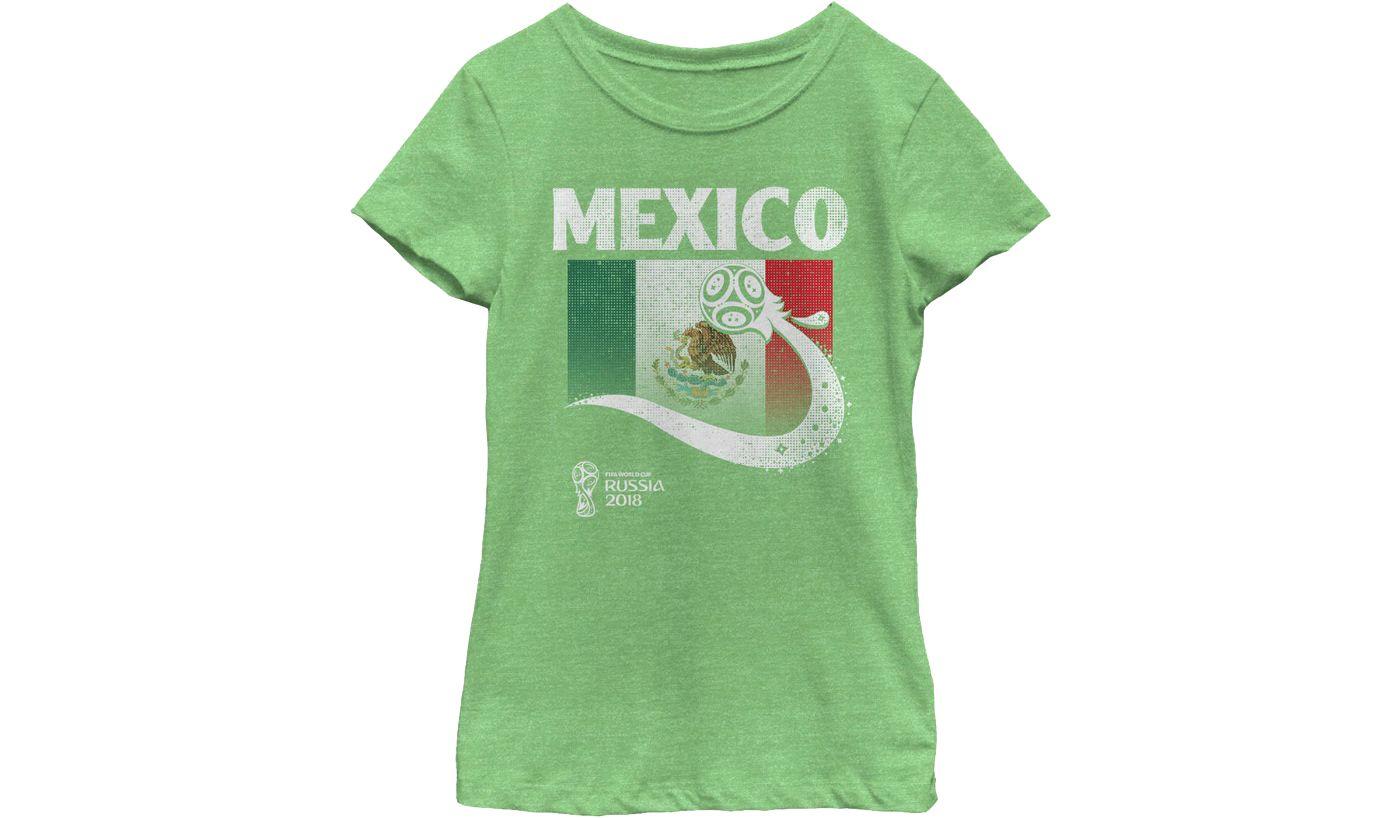 Fifth Sun Youth Girls' 2018 FIFA World Cup Mexico Flag Ball Green T-Shirt