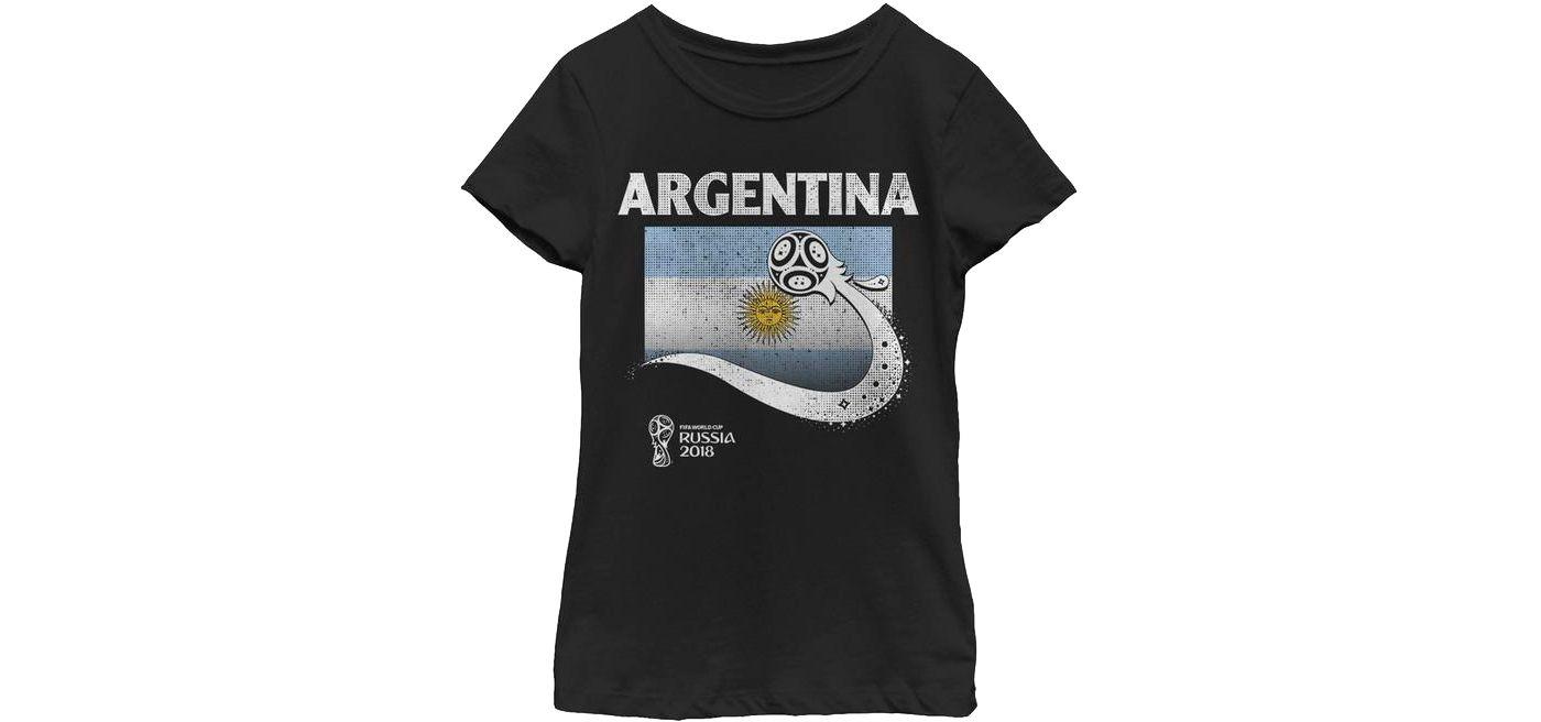 Fifth Sun Youth Girls' 2018 FIFA World Cup Argentina Flag Ball Black T-Shirt