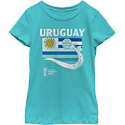 Fifth Sun Youth Girls' 2018 FIFA World Cup Uruguay Flag Ball Blue T-Shirt