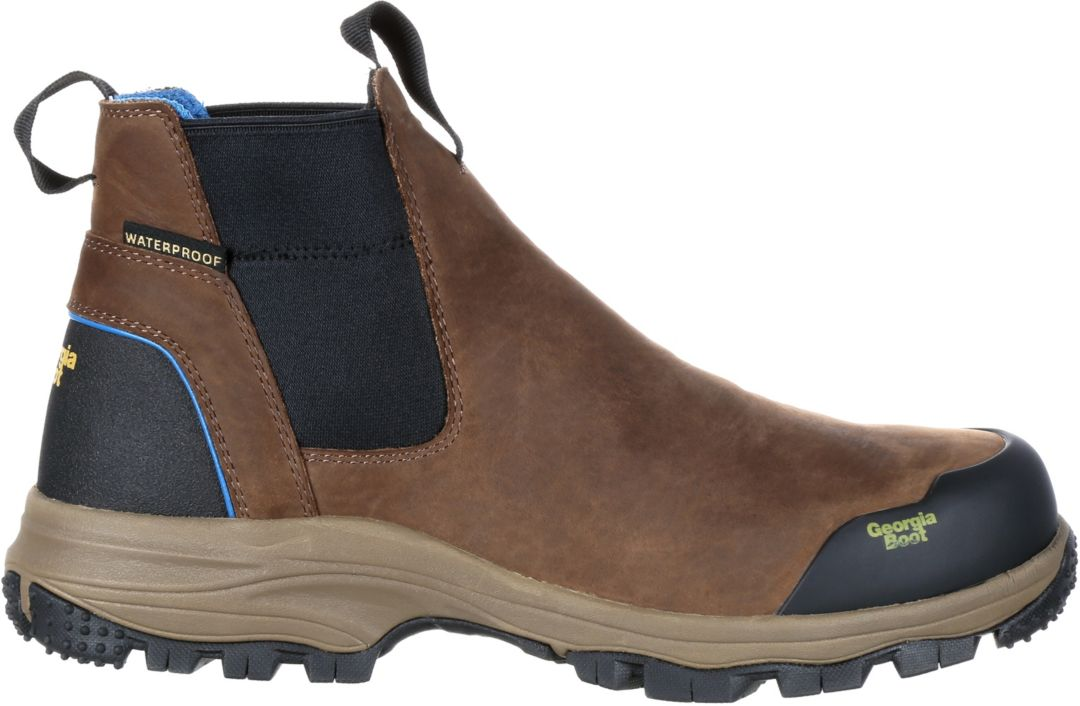 3cb29237b65 Georgia Boot Men's Blue Collar Chelsea Romeo Waterproof Work Boots