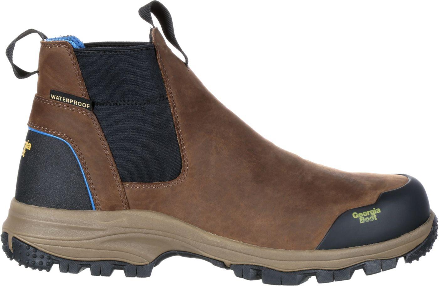 Georgia Boot Men's Blue Collar Chelsea Romeo Waterproof Work Boots