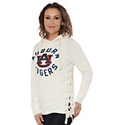 Touch by Alyssa Milano Women's Auburn Tigers Weekend Raglan White Pullover Hoodie
