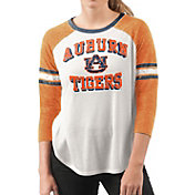G-III For Her Women's Auburn Tigers White/Orange Backfield Raglan 3/4 Sleeve Shirt