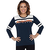 Touch by Alyssa Milano Women's Auburn Tigers White/Blue Offside 3/4 Sleeve Shirt