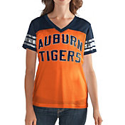 G-III For Her Women's Auburn Tigers Fan Club Orange/Blue Mesh V-Neck Top