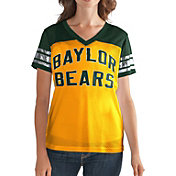 G-III For Her Women's Baylor Bears Fan Club Gold/Green Mesh V-Neck Top