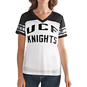 G-III For Her Women's UCF Knights Fan Club White/Black Mesh V-Neck Top