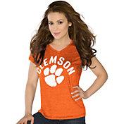 Touch by Alyssa Milano Women's Clemson Tigers Orange Sparkle V-Neck T-Shirt