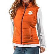 G-III For Her Women's Clemson Tigers Orange First Down Polyfill Vest