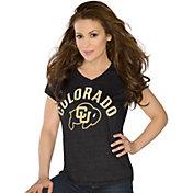 Touch by Alyssa Milano Women's Colorado Buffaloes Sparkle Black V-Neck T-Shirt