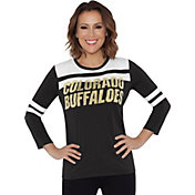 Touch by Alyssa Milano Women's Colorado Buffaloes White/Black Offside 3/4 Sleeve Shirt