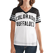 G-III For Her Women's Colorado Buffaloes Fan Club White/Black Mesh V-Neck Top