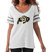 G-III For Her Women's Colorado Buffaloes Triple Play White V-Neck T-Shirt