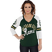 Touch by Alyssa Milano Women's Colorado State Rams Green Reflex Raglan 3/4 Sleeve Shirt
