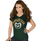 Touch by Alyssa Milano Women's Colorado State Rams Green Sparkle V-Neck T-Shirt