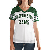 G-III For Her Women's Colorado State Rams Fan Club White/Green Mesh V-Neck Top
