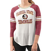 G-III For Her Women's Florida State Seminoles White/Garnet Backfield Raglan 3/4 Sleeve Shirt