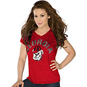 Touch by Alyssa Milano Women's Georgia Bulldogs Red Sparkle V-Neck T-Shirt