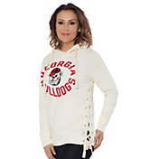 Touch by Alyssa Milano Women's Georgia Bulldogs Weekend Raglan White Pullover Hoodie