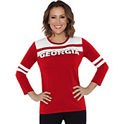 Touch by Alyssa Milano Women's Georgia Bulldogs White/Red Offside 3/4 Sleeve Shirt