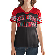 G-III For Her Women's Georgia Bulldogs Fan Club Black/Red Mesh V-Neck Top