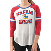 G-III For Her Women's Kansas Jayhawks White/Crimson Backfield Raglan 3/4 Sleeve Shirt