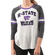 G-III For Her Women's Kansas State Wildcats White/Black Backfield Raglan 3/4 Sleeve Shirt