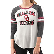 G-III For Her Women's Oklahoma Sooners White/Black Backfield Raglan 3/4 Sleeve Shirt