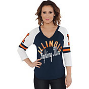 Touch by Alyssa Milano Women's Illinois Fighting Illini Blue Reflex Raglan 3/4 Sleeve Shirt