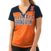 G-III For Her Women's Illinois Fighting Illini Orange Shake Down V-Neck Top