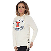Touch by Alyssa Milano Women's Illinois Fighting Illini Weekend Raglan White Pullover Hoodie