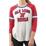 G-III For Her Women's Ole Miss Rebels White/Red Backfield Raglan 3/4 Sleeve Shirt