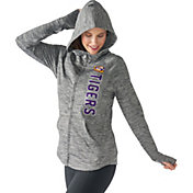 G-III For Her Women's LSU Tigers Grey Defender Full-Zip Hoodie