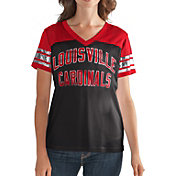 G-III For Her Women's Louisville Cardinals Fan Club Black/Cardinal Red Mesh V-Neck Top